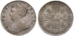 World Coins - Anne 1708 Crown, plumes