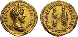 Ancient Coins - Marcus Aurelius, gold Aureus Rome, Mint of Rome