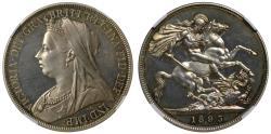 World Coins - Victoria 1893 LVI proof Crown, older head, PF63 CAMEO