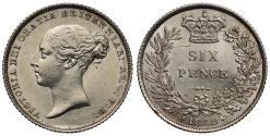 World Coins - Victoria 1852 Sixpence