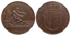 "World Coins - George III 1820 Pattern copper ""Hercules"" Crown NGC PF62BN"
