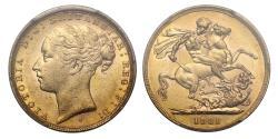 Ancient Coins - Victoria 1881 Sydney Sovereign, W.W. clear, No BP reverse, graded AU58