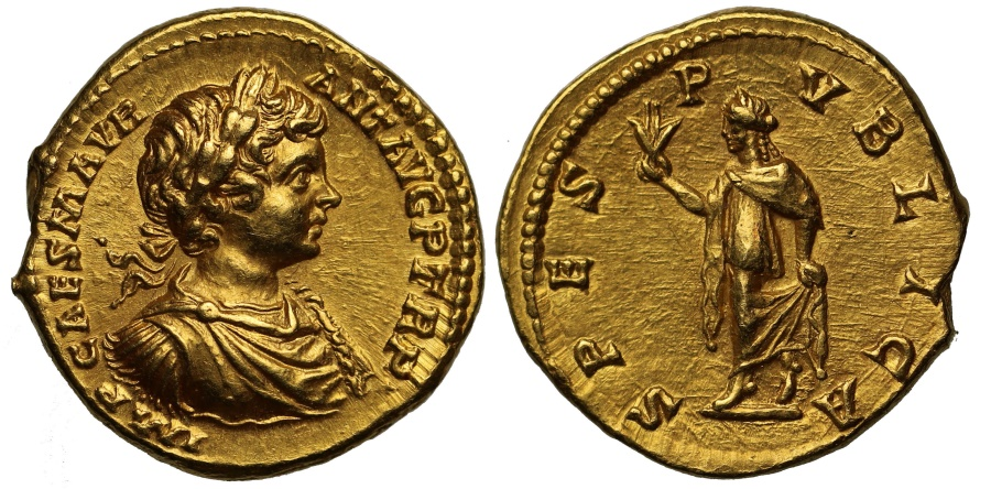 Ancient Coins - Caracalla, Gold Aureus NGC MS