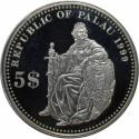 World Coins - Palau 5 Dollar Silver , KM 24 , Proof