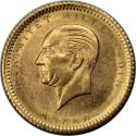 World Coins - Türkei / Turkey 25 Kurush 1923 / 53 ,  Gold KM 851 , UNC