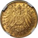 Ancient Coins - German coins and medals from 1871, Hamburg. 10 Mark 1906 J, Gold, NGC AU-58