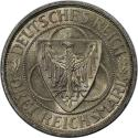 World Coins - German coins and medals from 1871, WEIMARER REPUBLIK. Nordhausen. 3 Mark 1930 D, Silver, EF