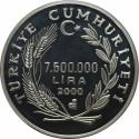World Coins - Türkei / Turkey 7500000 Lira 2000 Silver , KM 1101 , Proof