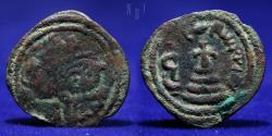 World Coins - ARAB SASANIAN Anonymous, ca. 690-710, AE pashiz Mint of Zarqun ?, 2.42g, 22mm, BOLD VF & RRR