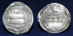 World Coins - ABBASID Silver Dirham, Temp ma'mun, Mint madibat al salam, Date 206h, 2.87g, 27mm, EF & R