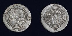 World Coins - ARAB SASANIAN Khusraw II type Silver Drachm, Rabi Allah. GD Jayy 37, YE 48h, 3.23g, 28mm, VF & RR