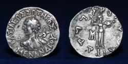 Ancient Coins - INDO GREEK Menander I Silver Drachm 2.44g, 17mm, GOOD VERY FINE