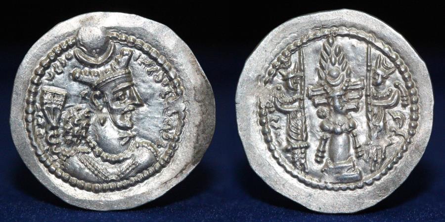 Ancient Coins - SASANIAN KINGDOM Varhran (Bahram) V (AD 420-438) Silver Drachm, mint Rayy, 4.2g, 30mm, EF R