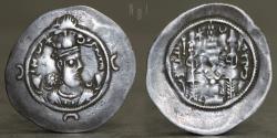 Ancient Coins - SASANIAN KINGS. Varahran (Bahram) VI. 590-591 AD. AR Drachm. (NYHC )mint, year 1, 4.02g, 32mm, R