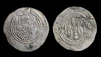 World Coins - Eastern Sistan : Anonymous khusro type 706-727 AR drachm Date : AH95 Mint : Sijistan
