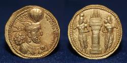 Ancient Coins - SASANIAN KINGDOM Varhran (Bahram) II, AD 276-293 Gold Dinar. 7.21g, 21mm, ABOUT EF & RR