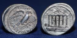 Ancient Coins - ROMAN REPUBLIC. Petillius Capitolinus, 43 BC. AR Denarius, 3.57g, 20mm, VERY FINE & RARE