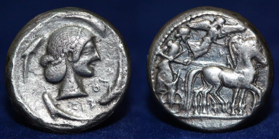 Ancient Coins - SICILY Syracuse. Hieron I. Circa 478-466 BC. AR Tetradrachm, 16.2g, 23mm, GOOD VERY FINE & RARE