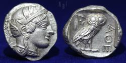 Ancient Coins - Attica, Athens, Ancient Greece, c. 454-404 BC. Silver Tetradrachm. 17.2g, 26mm, EF