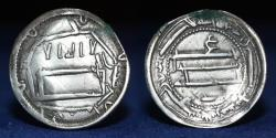 World Coins - ABBASID Silver Dirham, Al-Rashid, Mint Abbasiya, AH174, 2.89g, 26mm, GOOD VF R Rev: ع.