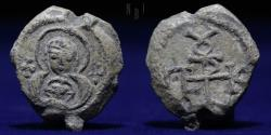 Ancient Coins - BYZANTINE LEAD SEAL 11th CENTURY AD, Nikephoros. Bust of the Virgin orans / Inscription. 11.98g, VF