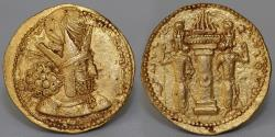 Ancient Coins - SASSANIAN KING Shapur I AV Dinar. Uncertain mint. AD 260-272 Apparently Unpublished Variety EF RR