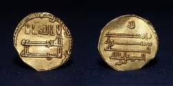 World Coins - ABBASID Dinar Al Mutawakkil ala Allah. Mint San'a, Date 238h, 2.14g, 16mm, RR