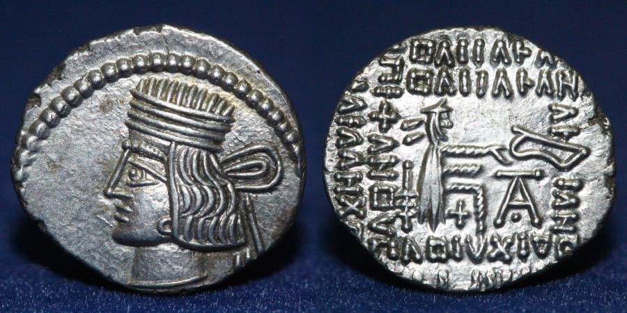 Ancient Coins - PACORUS I (AD 78-120) Silver Drachm, Minted at Ecbatana. 3.75g, 20mm, EF