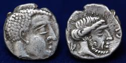 Ancient Coins - ARABIA, Southern. Qataban. Shahr Hilal Yuhan'im. Circa 50-25 BC. AR Hemidrachm.