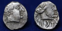 Ancient Coins - Arabia. Qataban. Yad'ab Dhubyan Yuhargib (155-135 BC). AR hemidrachm. (13mm,1.88g) About EF & RARE