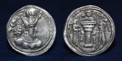 Ancient Coins - SASANIAN KINGS Shahpur II. AD 309-379. AR Drachm. Uncertain mint, 3.37g. 27mm. GOOD VF