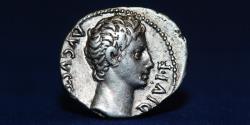 Ancient Coins - Augustus AR Denarius. Lugdunum, 15-13 BC. AVGVSTVS DIVI•F, 3.82g, 20mm, EF & RR