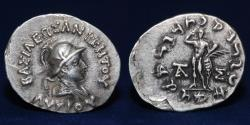Ancient Coins - INDO-GREEK Lysias, ca. 130-125 BC, AR Drachm, 2.42g, 19mm, ABOUT EF & RARE