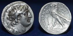 Ancient Coins - Seleukid Kings of Syria. Antiochos VII Euergetes AR Tetradrachm. Tyre, circa 132-131 BC, 13.71g, 30mm, GOOD VF