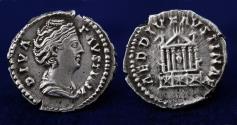 Ancient Coins - DIVA FAVSTINA Rome Denar AR. AD 140-141. 19mm, 3.32g, ABOUT EF