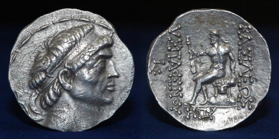 Ancient Coins - KINGS of CHARACENE Hyspaosines. Circa 127-124 BC. AR Tetradrachm 16,38g, 31mm, ABOUT EF RR