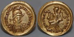 Ancient Coins - THEODOSIUS II Gold Solidus AD 402-450 Choice VF, Constantinople (4.48g,21mm) GOOD VF