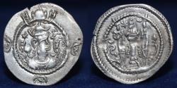Ancient Coins - SASANIAN KINGS Kavad I. 488-496 AD. AR Drachm. Mint AH (hamidan) Date 40, 4.09g, 29mm, EF