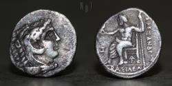 Ancient Coins - Kingdom of Macedon, Alexander III 'the Great' (324/3-323 BC) AR Obol. 0.67g, 10mm, VF & R