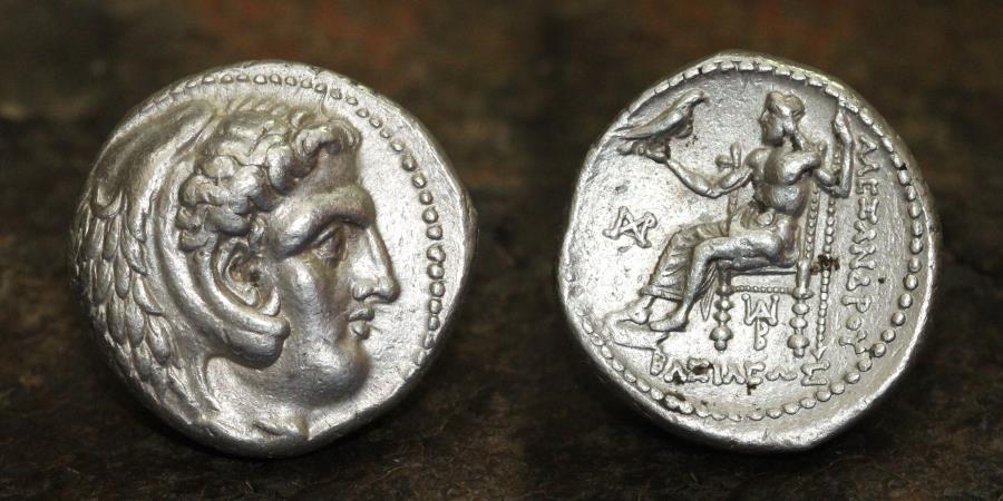 Ancient Coins - MACEDONIAN KINGS Alexander III. 336-323 BC. AR Tetradrachm. 17.12g, 26mm, RR