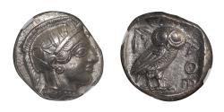 Ancient Coins - ATTICA ATHENS Silver Tetradrachm, ca. 454-404 BC. 17.12g, EXTREMELY FINE & RARE