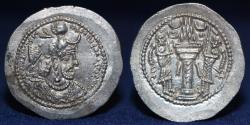 Ancient Coins - SASANIAN KINGS Yazdgerd I. 399-420 AD. AR Drachm, Mint Rayy, 4.19g, 29mm, EXTREMELY FINE & RARE