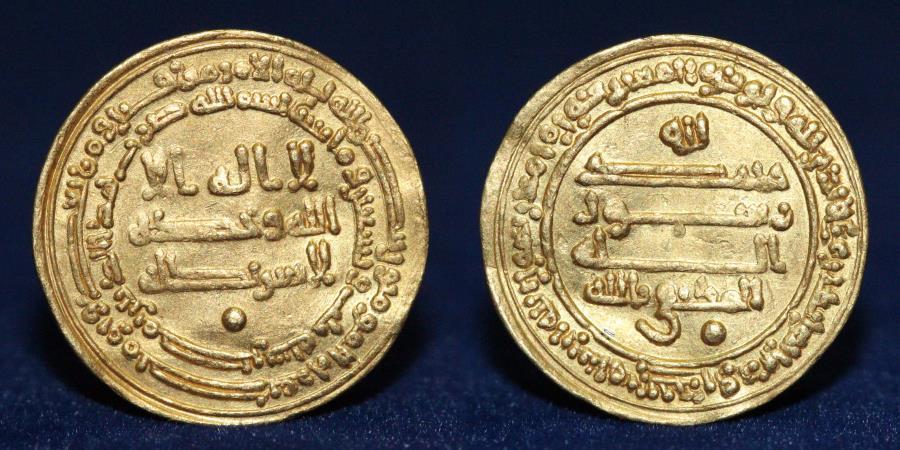 World Coins - ABBASID Caliphate. Al-Muktafi, Gold Dinar. Misr 293h, 4.13g, 22mm, ABOUT EF & R