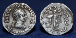 Ancient Coins - BACTRIA Menander I Soter. Circa 155-130 BC. Silver Drachm. 2.45g, 18mm, EXTREMELY FINE