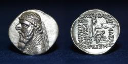 Ancient Coins - PARTHIAN KING Mithradates II. 121-91 BC. AR Drachm. Ekbatana mint. 4.13g, 20mm, EF