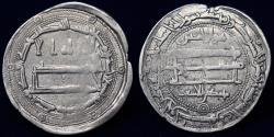 World Coins - ABBASID Temp Al Ma'mun (194-218h) Dirham, Madinat Zaranj 199h (2.9g,26mm) VF R
