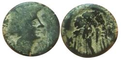 Ancient Coins - Aretas II or III,  Greek. Nabataea. Proto-Nabataean. over struck Ptolemaic coin.