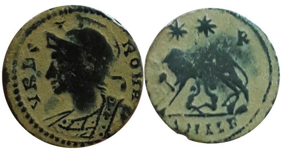 Ancient Coins - City Commemorative AE Follis. VRBS ROMA .