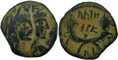 Ancient Coins - Aretas IV with shaqilat .9 BCE-40 CE.( Year 4 ). Extremely rare.