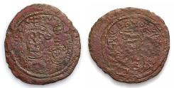 World Coins - Arab-Sasanian. Anonymous. ca. 690-710. Æ pashiz but probably in Fars or Khuzestan, ND. Two Byzantine-style